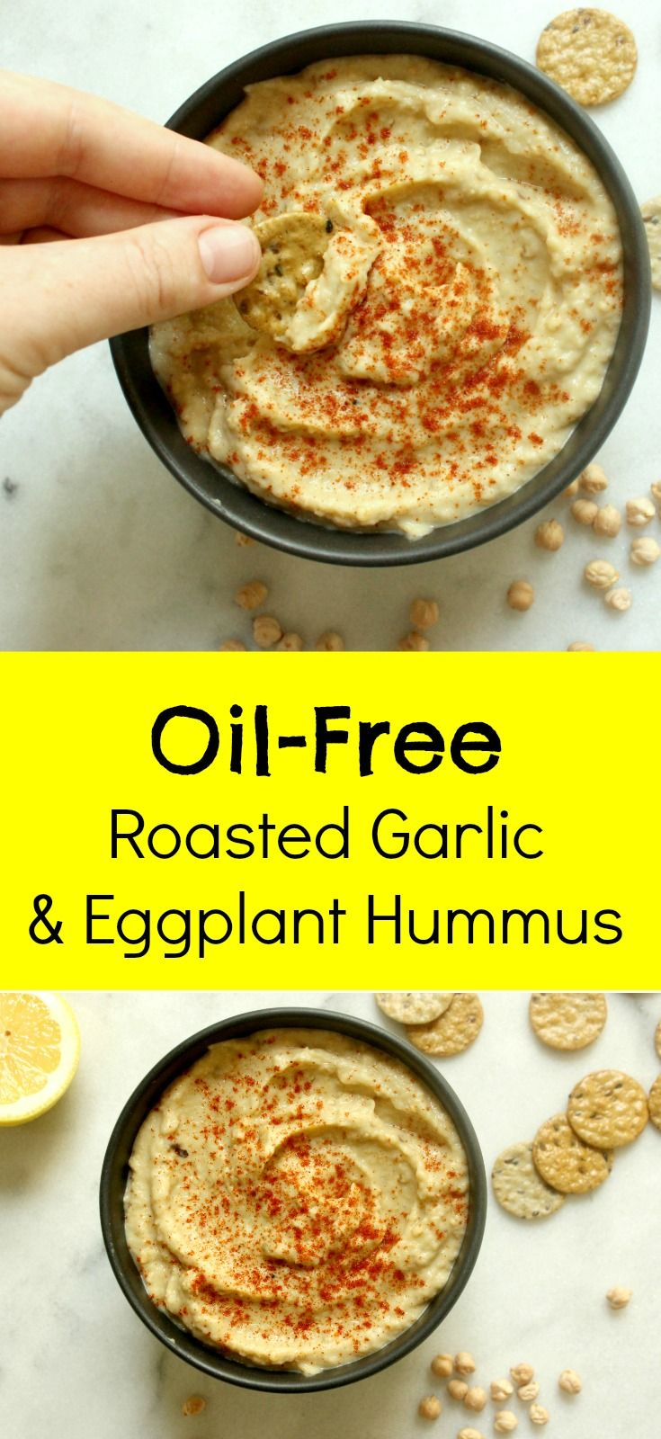 Roasted Garlic and Eggplant Hummus | Oil Free Vegan Hummus | Healthy Recipes for Weight Loss | Vegan Recipes for Beginners | Whole Food Plant Based | Clean Eating | Healthy Eating | Vegan Snacks