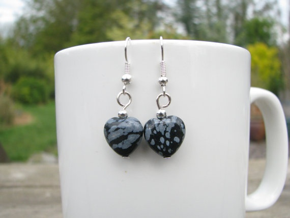 Snowflake obsidian heart earrings by madebymemadeforyou on Etsy, $11.00