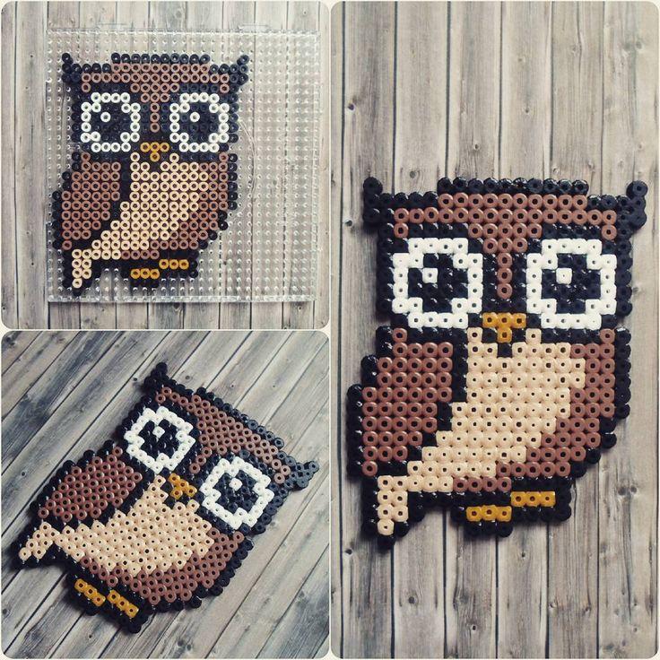 Cute Brown Owl Perler Hama Beads - Beadsmeetgeeks