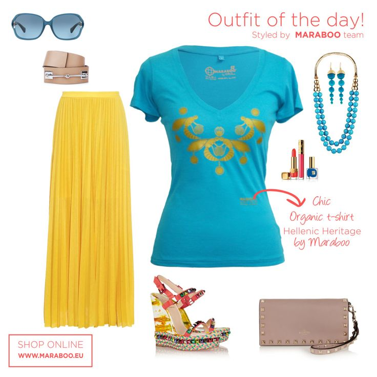 "Yellow maxi skirt,Hellenic Heritage t-shirt ""Queen Pasiphae"" $64.90€,wedges"