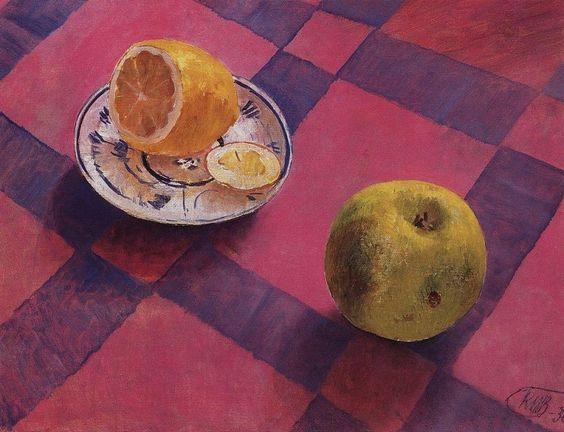 Яблоко и лимон. 1930. Петров-Водкин Кузьма Сергеевич (1878-1939):