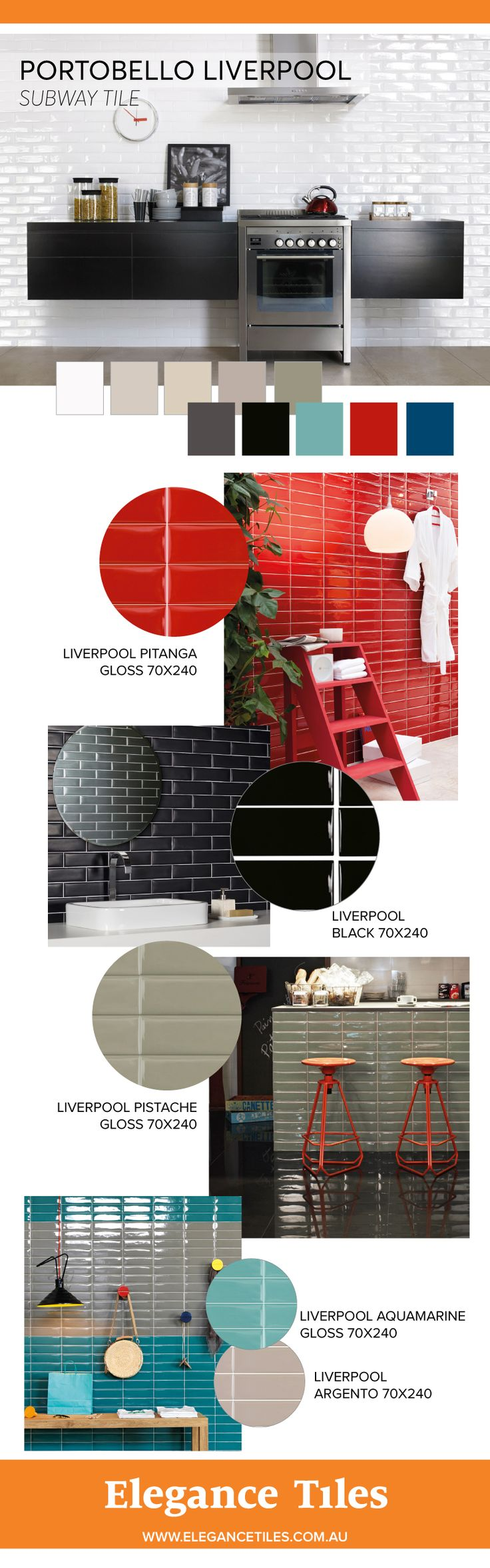 How to use colourful subway tiles in your home!  Featuring Portobello Liverpool tiles available at elegance tiles