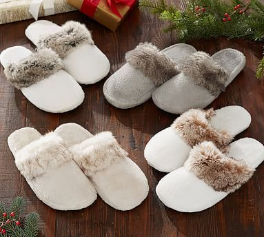 Faux Fur Slippers #potterybarnMEDIUM CARAMEL OMBRE