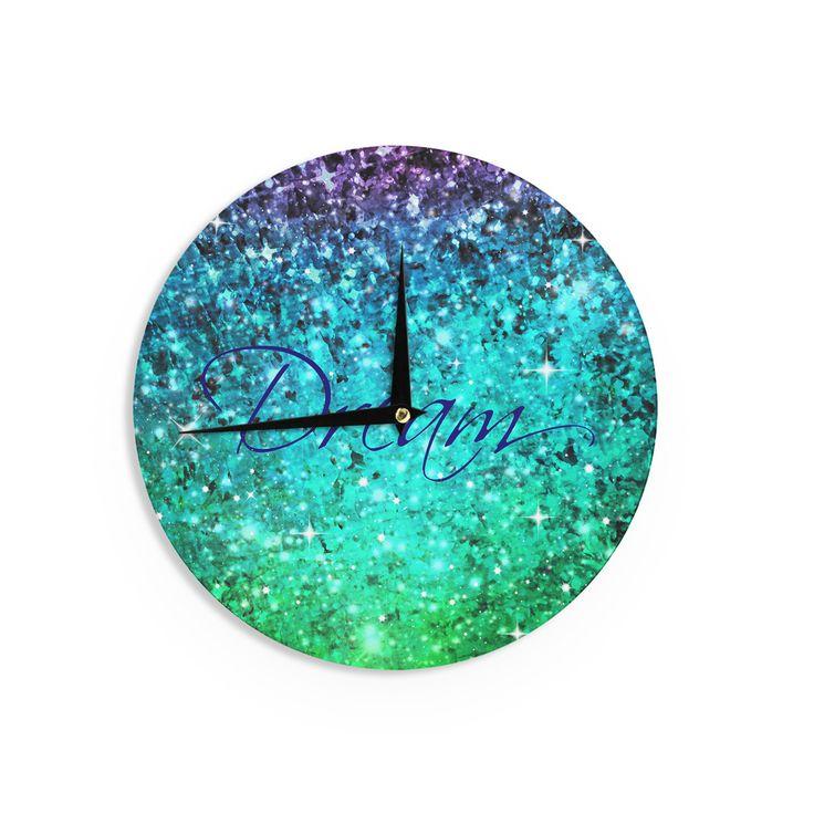 "Ebi Emporium ""Dream"" Blue Teal Wall Clock"