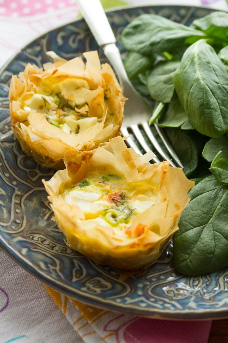 These pretty individual quiches are made with filly phyllo pastry cups filled with smoked salmon, cream cheese and dill. Perfect for Easter or Mother's Day.