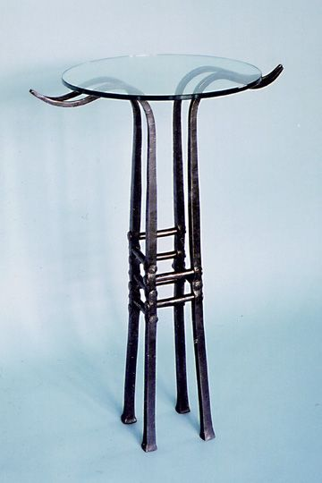 F14: Contemporary Forged Steel Art Deco Table