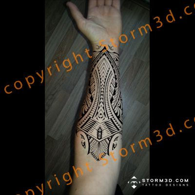 Tribal calf tattoo design inspired on Samoan and Polynesian patterns