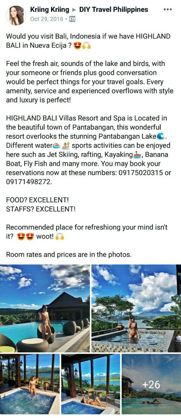 Highland Bali Villas Resort And Spa Pantabangan Nueva Ecija Resort Villa Traveling By Yourself Travel