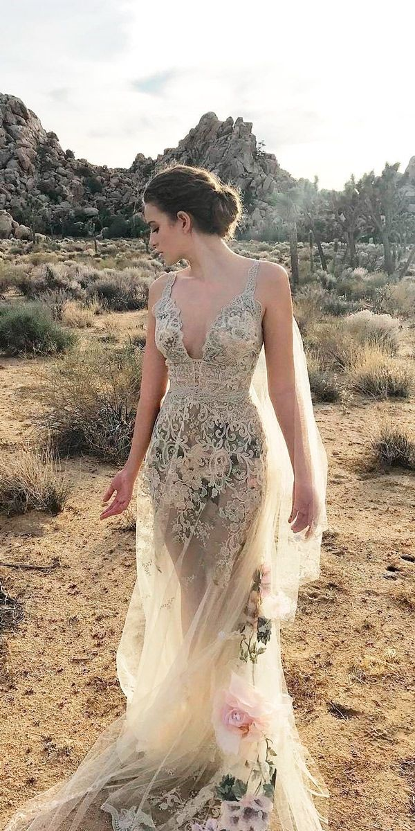 30 Beautiful Wedding Dresses By Top USA Designers ❤ beautiful wedding dresses colored floral straight flowy v neckline with straps claire pettibone ❤ See more: http://www.weddingforward.com/beautiful-wedding-dresses/ #weddingforward #wedding #bride