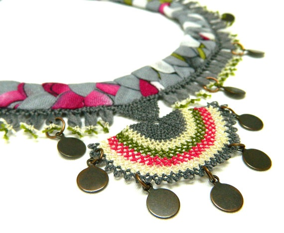 silk needle lace necklace.Handmade ..Pink and gray colours.