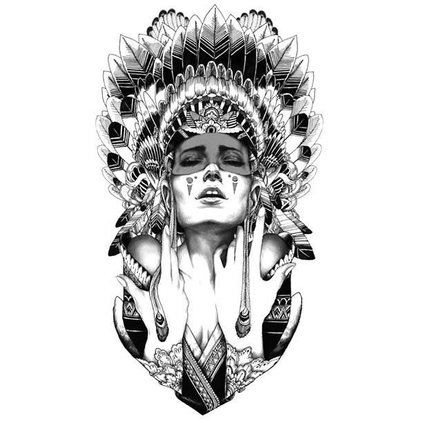 An amazing tattoo flash in sketch style. An Indian girl in an Indian headdress looks very beautiful.