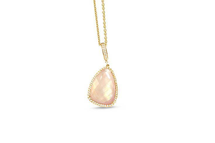 18 ct rose gold rose quartz, pink shell & pavé set white diamond pear shaped pendant