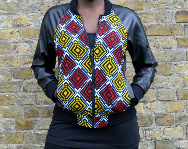 Ankara african print bomber jacket with leather sleeves