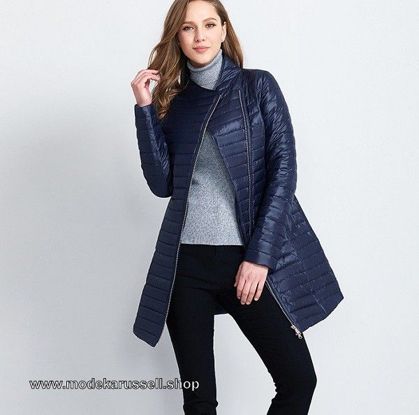 Dünne Damen Jacke mit Baumwolle Gefüttert Dunkelblau