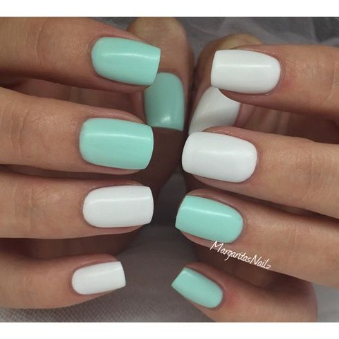 White&Mint Matte by MargaritasNailz from Nail Art Gallery - 25+ Trending Mint Nails Ideas On Pinterest Mint Acrylic Nails
