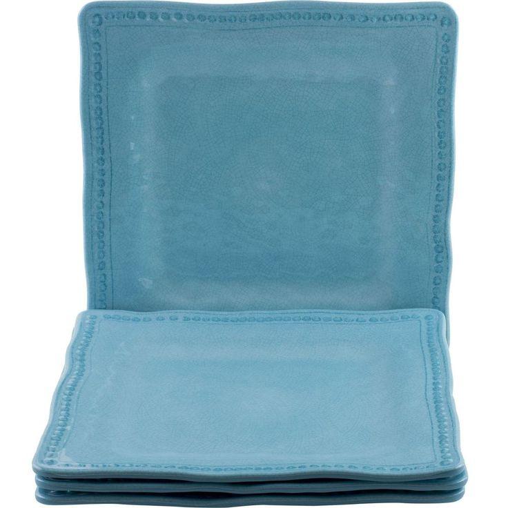 Kim Seybert Aqua Blue Dinner Plates Melamine Set of 4 Hobnail & Crackle #KimSeybert