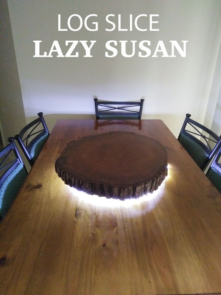 Rustic Live Edge Log Slice Lazy Susan With Led Lighting