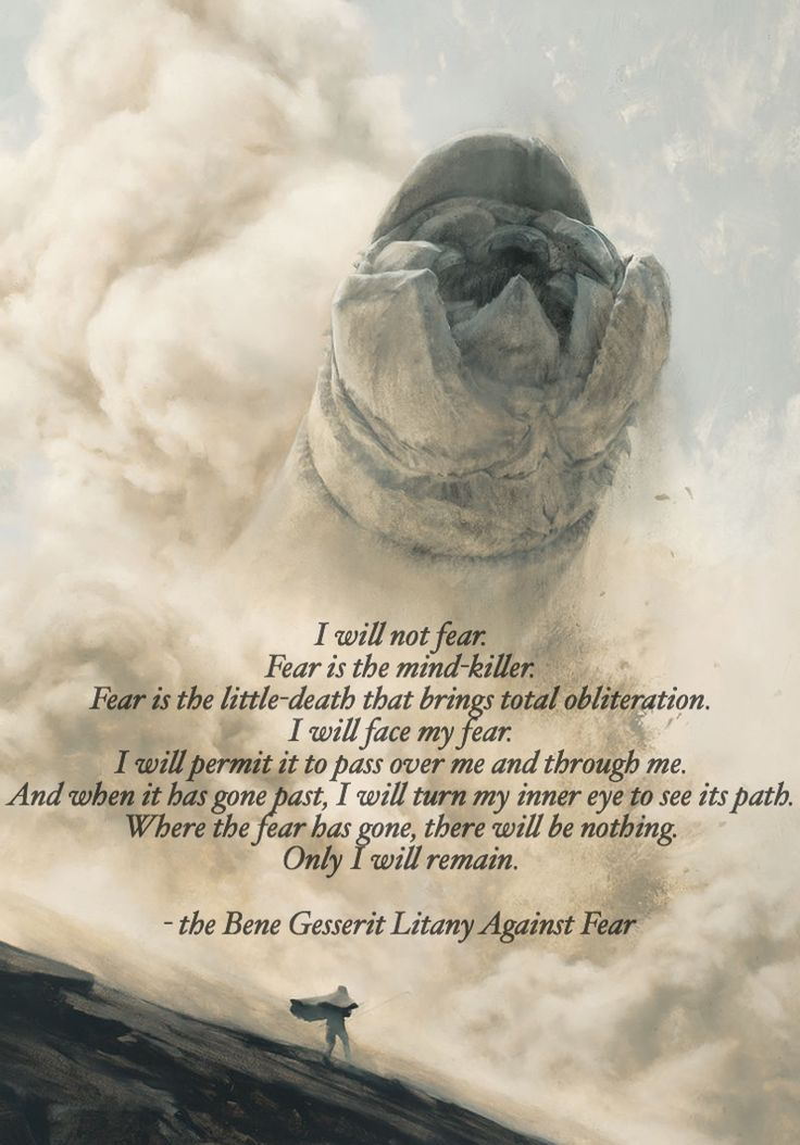 "The Bene Gesserit Litany Against Fear from Frank Herbert's classic science fiction novel ""Dune""..."