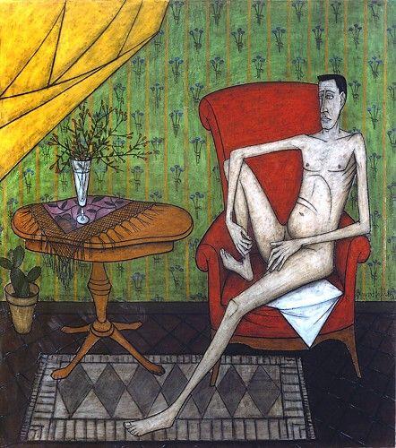 Intérieurs: Homme assis, huile sur toile, 218 x 195 cm, 1953. Musée Bernard Buffet.
