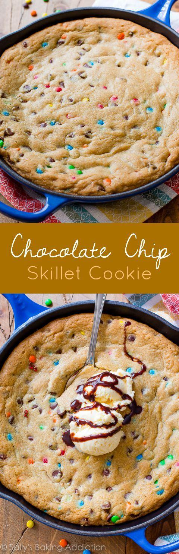 Chocolate Chip Skillet Cookie-- grab the easy recipe on sallysbakingaddiction.com