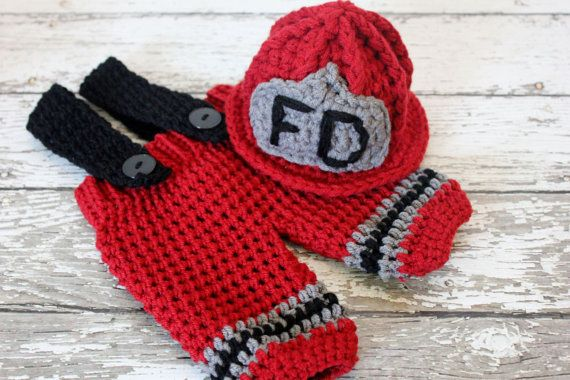 Crochet Patterns For Baby Frocks : Crochet Fireman / Firefighter Helmet and Pants set with ...