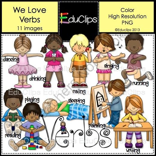 We Love Verbs Clip Art from Educlips on TeachersNotebook.com (11 pages)  - We Love Verbs Clip Art: Images of children demonstrating different verbs: dancing, drinking, eating, reading, playing, sleeping, painting, singing, running, painting, writing. It also includes a 'Verbs' sign. $3.00