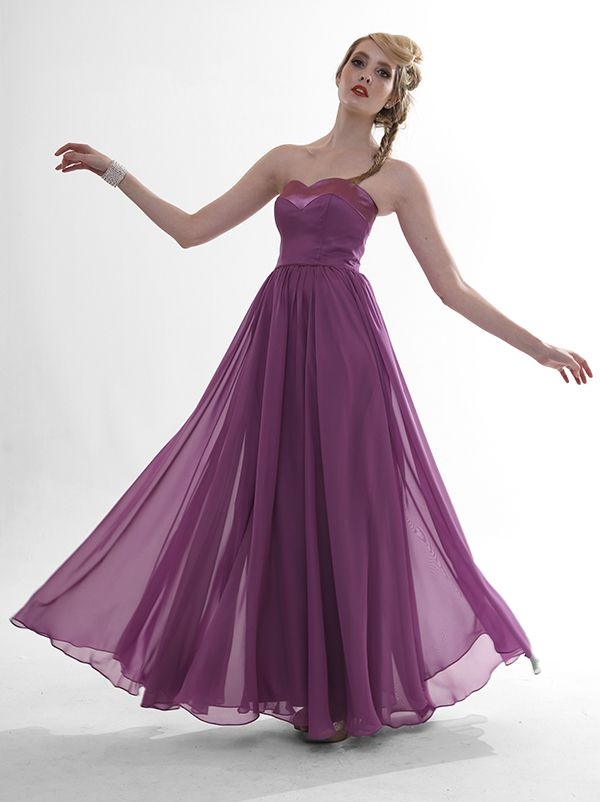 Sweetheart neckline with full circle skirt gathered into the waist. We love this dress on plus sizes as well as skinny minnie's! Perfect bridesmaid dress in dust purple. Steffi $295  #eveningwear #ballgowns #bridesmaids #wedding #bridal #gown