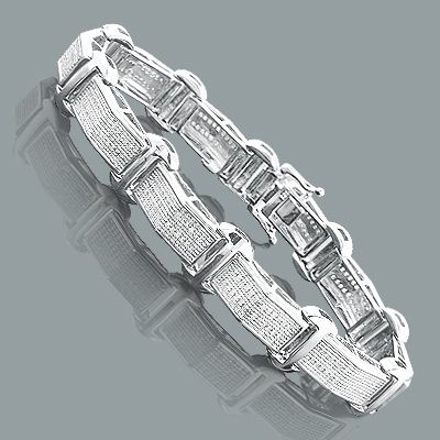 This Sterling Silver Mens Diamond Bracelet Weighs Approximately 26