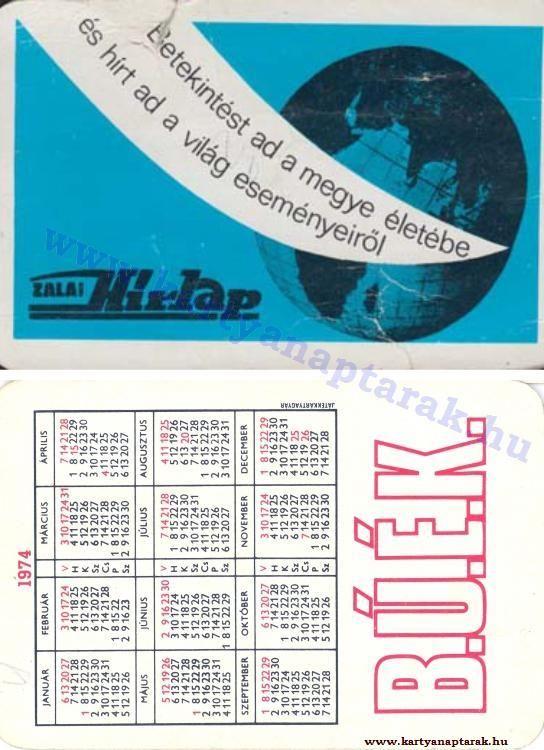 1974 - 1974_0744 - Régi magyar kártyanaptárak