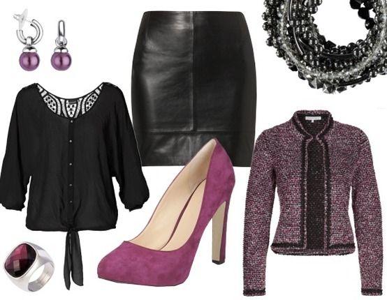 stoere avondoutfit paars zwart - Avond Outfits - stylefruits.nl