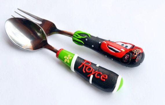 Mc Queen Car Personalized Gift Cutlery Set Boy by RadArtaDesign