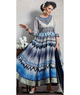 Cheerful Grey And Multi-Color Silk Anarkali Suit.