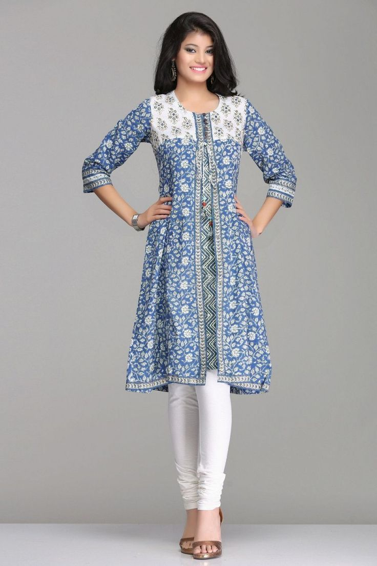 Chic Blue & White Floral A-Line Jacket Style Cotton Kurta By Farida Gupta