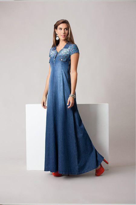 RJ11870 - Vestido Longo Jeans - Bella Belle Moda Evangélica