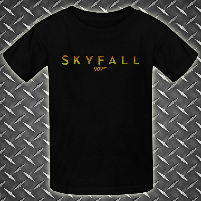 Item : 007 James Bond Skyfall Logo Gold New Black Youth Kids T-Shirt. Price : $21.69 Free Shipping to Worldwide. Desc. : T-Shirt Material is 6.1 Oz Heavyweight 100% Cotton, New, Never worn, Standard fit. T-Shirt Using DIRECT TO GARMENT (DTG) printing machine, printing quality is guaranteed. T-shirt sizes available are XS, M, L, & XL. You can contact me for order size and color you want.