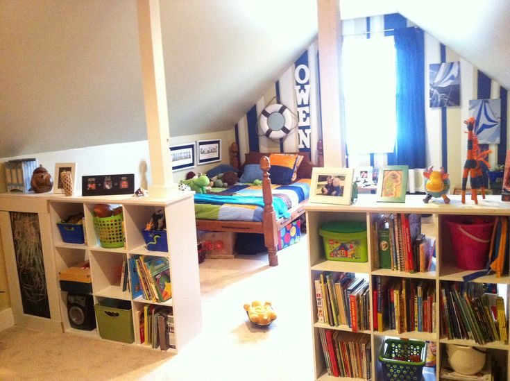 A great way to use a bonus room as playroom and kid's room.