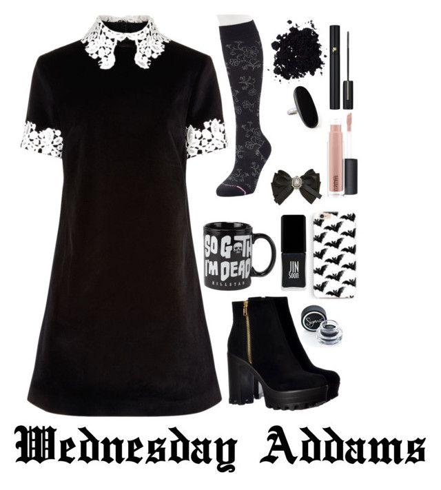 """Modern Wednesday Addams #3"" by xxmonnyxx ❤ liked on Polyvore featuring macgraw, Dr. Motion, Sigma, Lancôme, MAC Cosmetics, JINsoon, Killstar, Cara and modern"