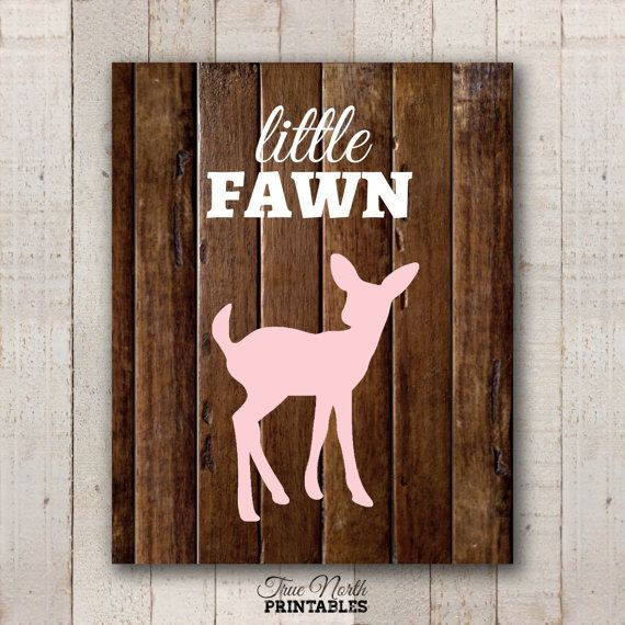 Baby Deer Nursery Print  Pink Little Fawn by TrueNorthPrintables