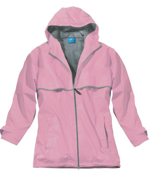 Womens embroidered monogrammed rain jacket in fashion colors