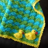 duck crochet baby blanket tutorial. It's so cute. I love the colors of it, even without the ducks. But I do love the ducks. mc