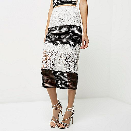 Black mono lace midi pencil skirt - midi skirts - skirts - women