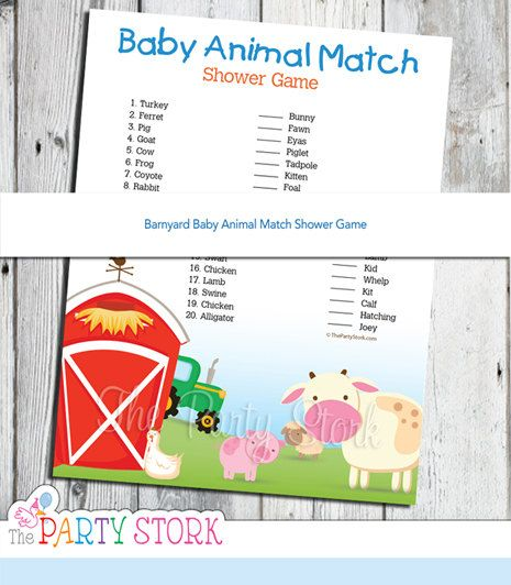 Barnyard Baby Shower Game, PRINTABLE Baby Animal Match Game by The Party Stork with Cow, Pig, Tractor, Barn, Digital INSTANT DOWNLOAD