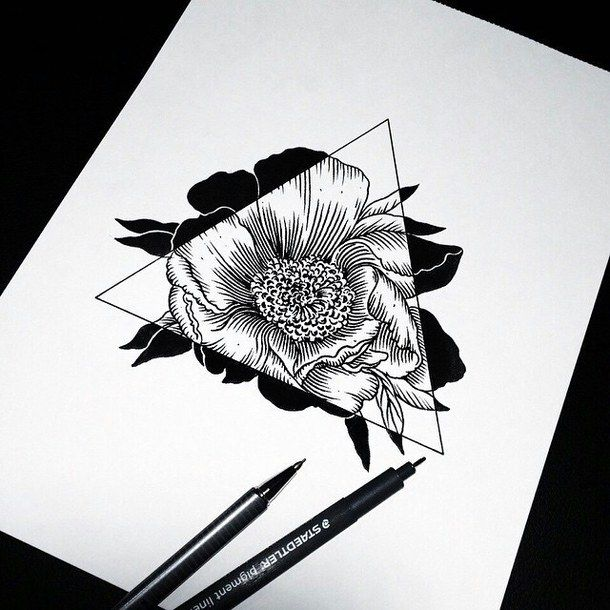 art, drawing, flowers, hipster, sketch, triangle