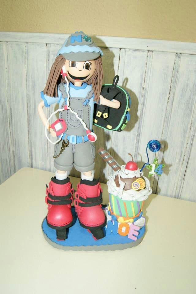 Foficha escolar con patines de linea personalizada