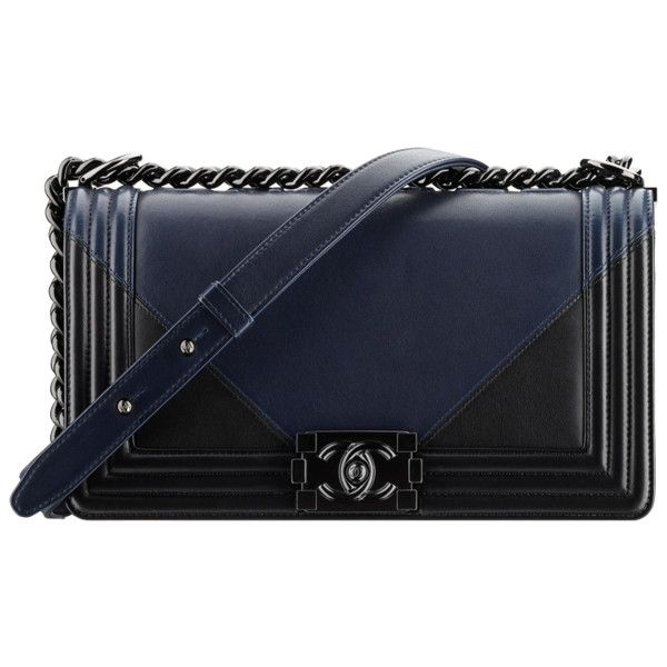 navy blue black Chanel ❤ liked on Polyvore featuring bags, handbags, man bag, handbag purse, chanel bags, navy purse and hand bags