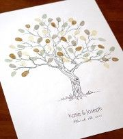 Fingerprint guest book tree. Personalised for weddings, anniversaries, engagements, birthdays and family get togethers.