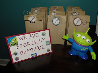 "Gift Bag Ideas for Toy Story Party:  Tag says ""You've got a friend in me."""