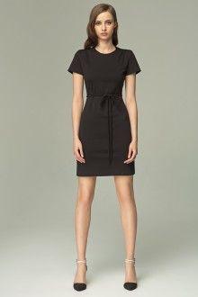 MISEBLA czarna sukienka z paskiem