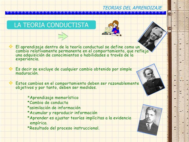 TEORIAS DEL APRENDIZAJE  LA TEORIA CONDUCTISTA El aprendizaje dentro de la teoría conductual se define como un   cambio r...