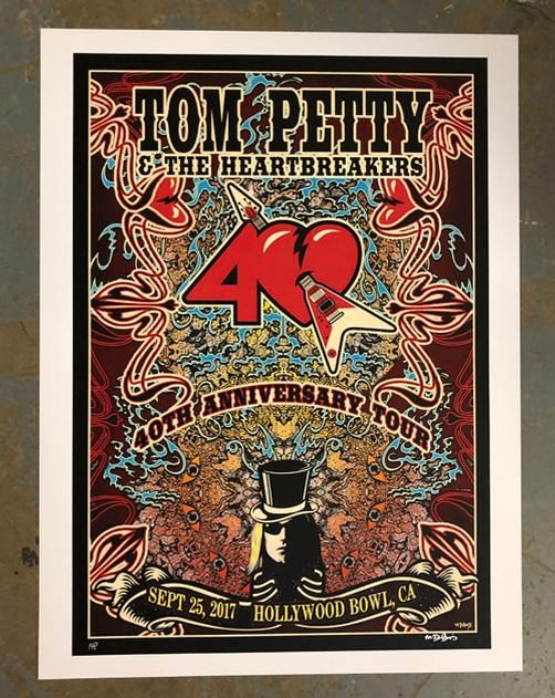 original concert poster for tom petty and the heartbreakers at the hollywood bowl in los angeles. Black Bedroom Furniture Sets. Home Design Ideas